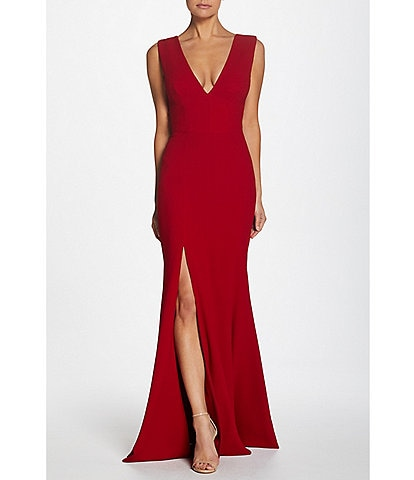 Dress the Population Sandra Crepe Plunge V-Neck Sleeveless Side Slit Gown