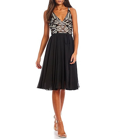 Dress the Population Sequined Plunging V-Neck Sleeveless Alicia Fit & Flare Dress