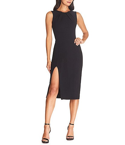Dress the Population Simone Boat Neck Sleeveless Scoop Back Zipper Leg Sheath Midi Dress