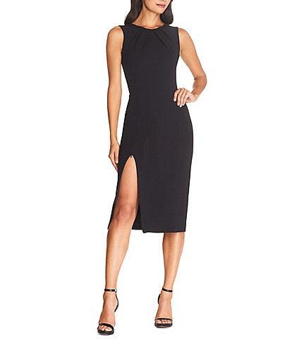 Dress the Population Simone Crew Neck Sleeveless Scoop Back Zipper Leg Sheath Midi Dress