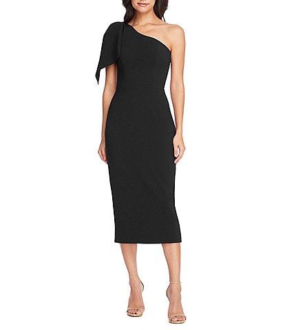 Dress the Population Tiffany One-Shoulder Bow Midi Sheath Sleeveless Dress