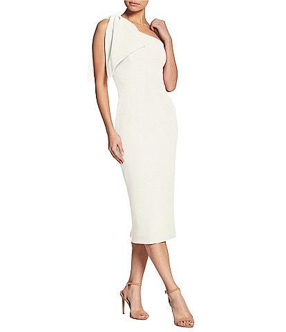Dress the Population Tiffany One Shoulder Bow Midi Sheath Sleeveless Dress