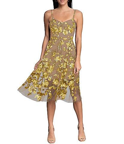 Dress the Population Uma Embroidered Floral Sleeveless Sweetheart Midi Dress