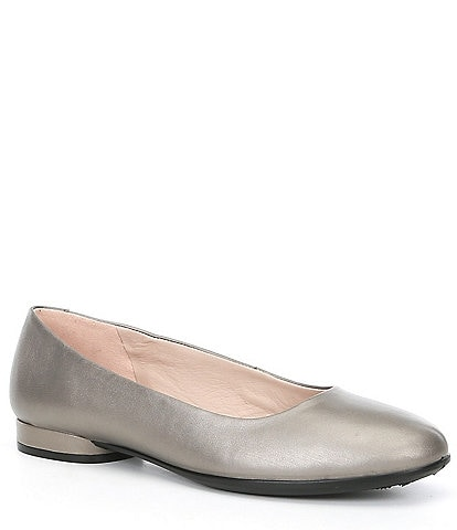 ECCO Anine Metallic Leather Block Heel Ballerinas