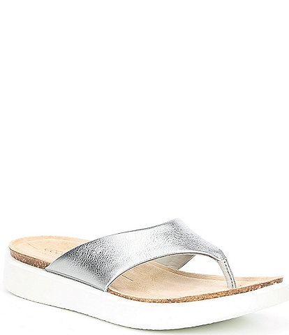 ECCO Corksphere Leather Thong Sandals