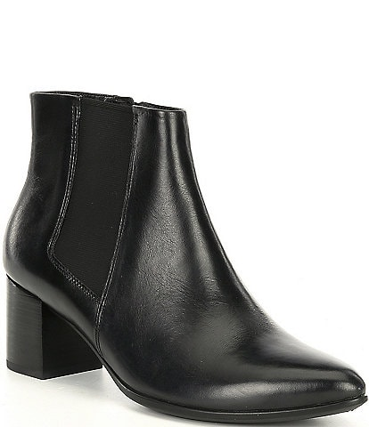 ECCO Shape 45 Pointy Block Leather Chelsea Ankle Booties