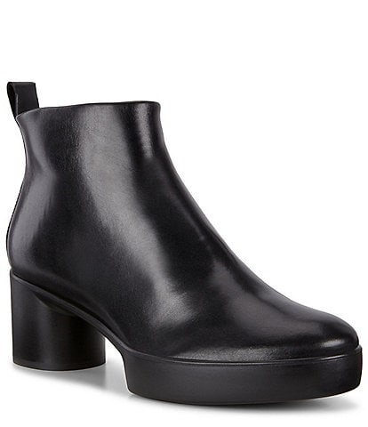 ECCO Shape Sculpted Motion 35 Leather Block Heel Ankle Boots