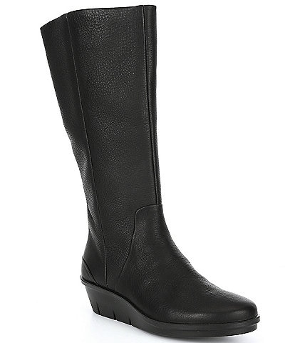 ECCO Skyler Leather Wedge Tall Boots