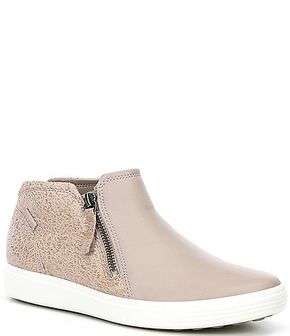 ECCO Soft 7 Leather and Suede Sneaker Booties