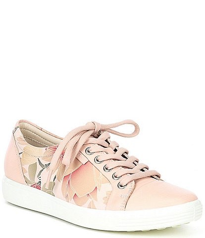 ECCO Soft 7 Floral Print Leather Lace-Up Sneakers