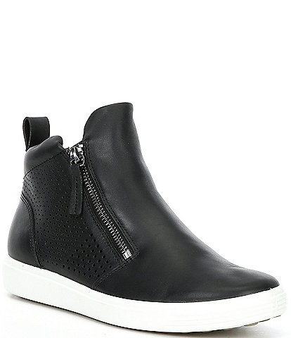 ECCO Soft 7 Perf Leather Zip Booties