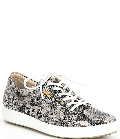 ECCO Soft 7 Snake Print Leather Lace-Up Sneakers
