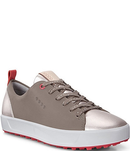 ECCO Womens Golf Soft Metallic Leather Golf Shoes