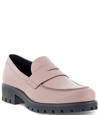 ECCO Women's Modtray Leather Lug Sole Penny Loafers