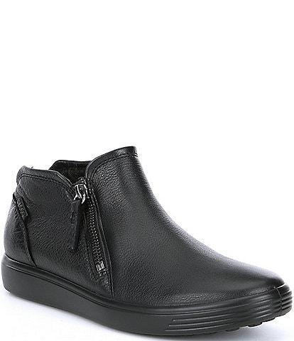 ECCO Women's Soft 7 Leather Low Cut Zip Bootie Sneakers