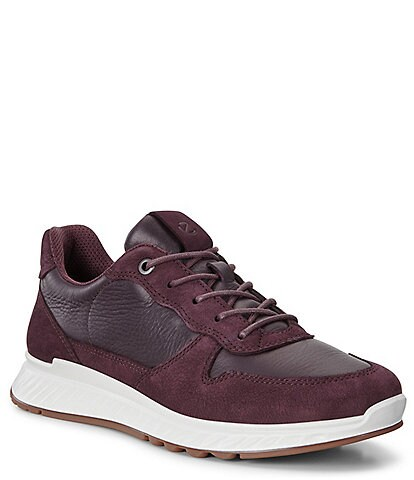 ECCO Womens St.1 Leather & Suede Leather Sneakers