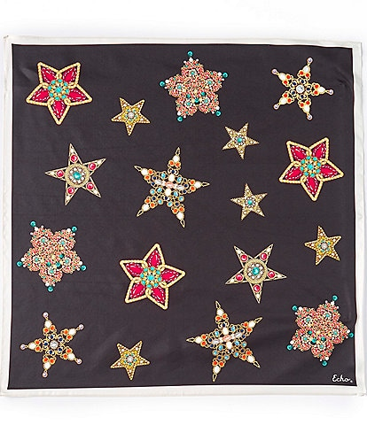 Echo Bejewelled Brooch Silk Square Scarf