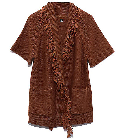 Echo Chunky Knit Open Front Cardigan with Fringe