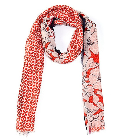 Echo Etched Floral Wrap Scarf