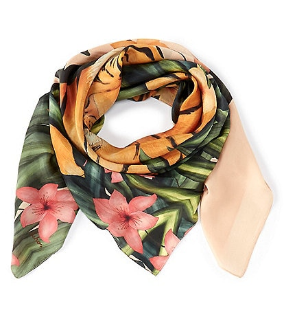 Echo Tiger In The Grass Silk Scarf