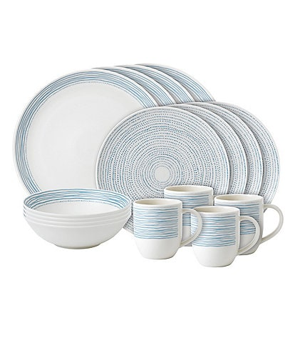 ED Ellen DeGeneres Crafted by Royal Doulton Polar Blue Dots Collection 16-Piece Porcelain Dinnerware Set