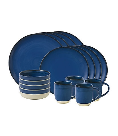 ED Ellen DeGeneres Crafted by Royal Doulton Brushed Glaze Cobalt 16-Piece Dinnerware Set