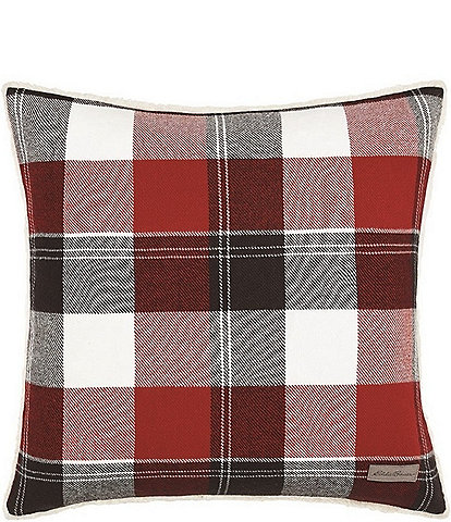 Eddie Bauer Lodge Dark Red Square Throw Pillow
