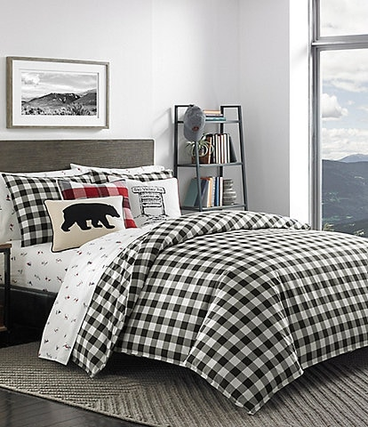 Eddie Bauer Mountain Black Plaid Comforter Mini Set