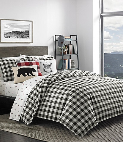 Eddie Bauer Mountain Black Plaid Duvet Mini Set