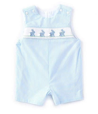 Edgehill Collection Baby Boys 3-24 Months Bunny Smocked Micro-Stripe Romper