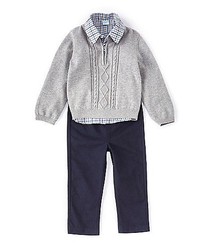 Edgehill Collection Baby Boys 3-24 Months Sweater, Plaid Shirt, & Twill Pant Set