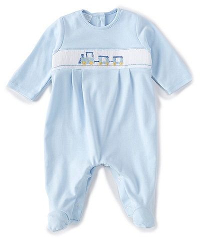 Edgehill Collection Baby Boys 3-9 Months Long-Sleeve Train Footed Coverall