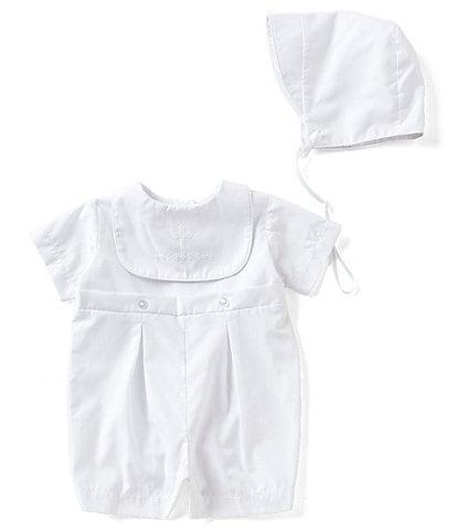 Edgehill Collection Baby Boys Newborn-12 Months Christening Shortall & Matching Hat Set