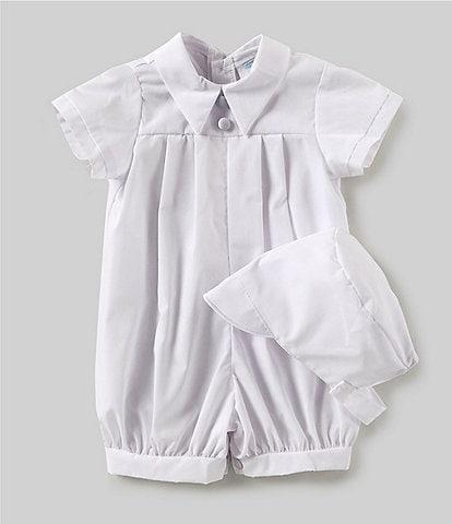 Edgehill Collection Baby Boys Newborn-12 Months Pleated Romper Matching Bonnet