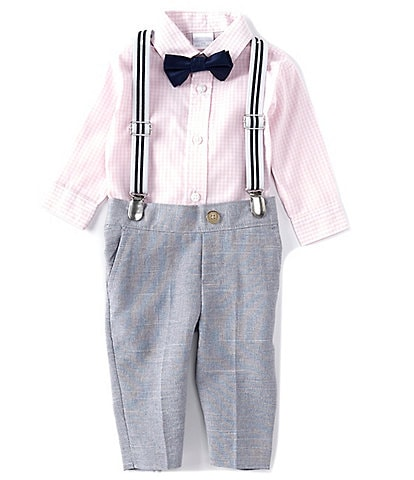 Edgehill Collection Baby Boys Newborn-24 Months Long-Sleeve Gingham Button-Front Shirt, Pants, & Bow Tie/Suspenders Set