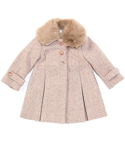 Edgehill Collection Baby Girls 12-24 Months Faux-Fur Peter Pan Collar Bow-Back Coat