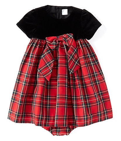 Edgehill Collection Baby Girls 12-24 Months Velvet Plaid A-Line Dress