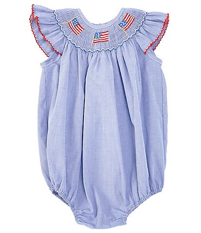 Edgehill Collection Baby Girls 3-24 Months Americana Flag Smocked Bubble Shortall