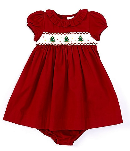 Edgehill Collection Baby Girls 3-24 Months Christmas Tree Smocked A-line Dress