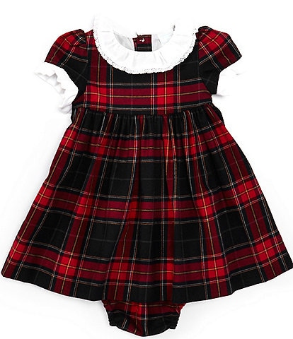 Edgehill Collection Baby Girls 3-9 Months Family Plaid Contrast Ruffle Trim A-Line Dress