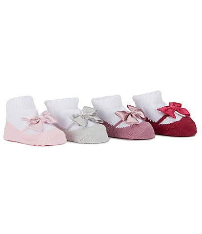 Edgehill Collection Baby Girls 4-Pack Mary Jane Socks