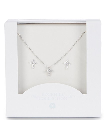 Edgehill Collection Baby Girls Cross Necklace & Earings Set