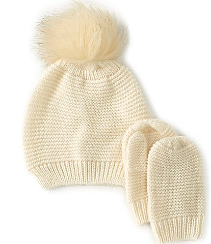 Edgehill Collection Baby Girls Knit Faux Fur Pom Hat & Mittens