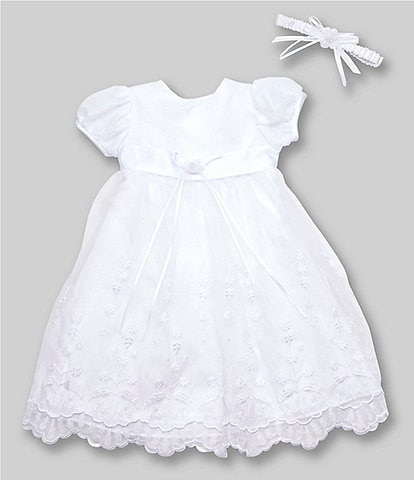 Edgehill Collection Baby Girls Newborn-12 Months Flower Christening Gown & Headband