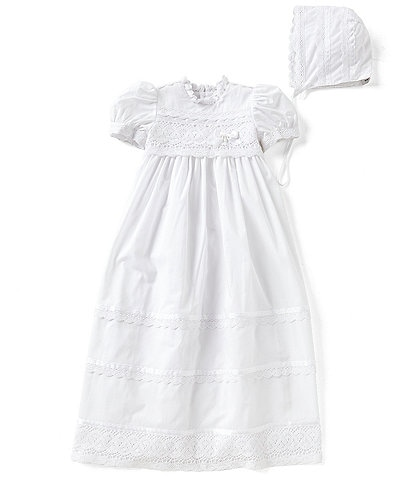 2197c8b46 Edgehill Collection Baby Girls Newborn-12 Months Victorian Christening Gown  & Matching Bonnet Set