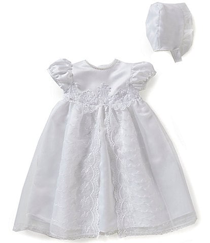 7a97dd215d4 Edgehill Collection Baby Girls Newborn-12 Months Flower Christening Gown  and Bonnet Set