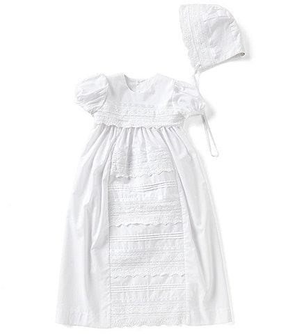 d668e53dd Edgehill Collection Baby Girls Newborn-12 Months Lace Christening Gown &  Matching Bonnet Set