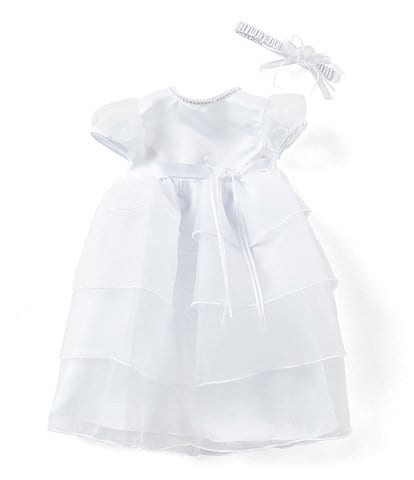 cc56971dd11d2 Edgehill Collection Baby Girls Newborn-12 Months Pearl Neck Tiered  Christening Gown and Headband