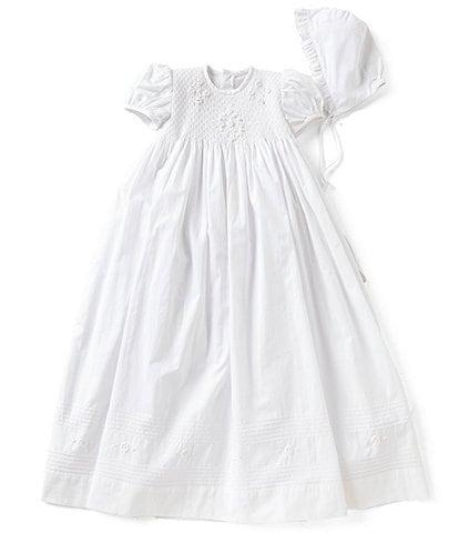 Edgehill Collection Baby Girls Newborn-12 Months Smocked Christening Gown & Matching Bonnet Set