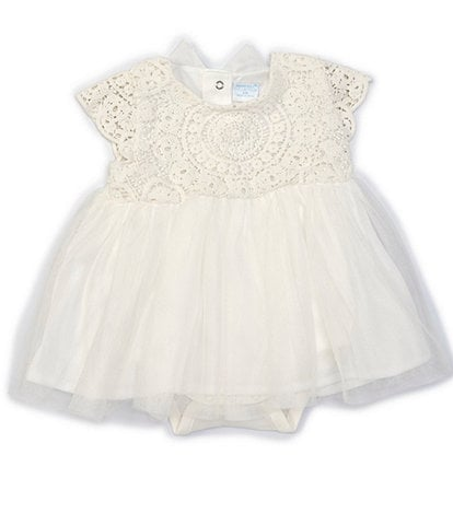 Edgehill Collection Baby Girls Newborn-6 Months Bow-Back Lace Dress Bodysuit